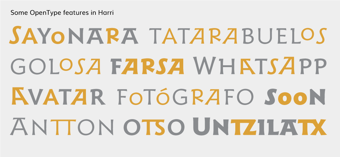Examples of OpenType features based on he Basque lettering style