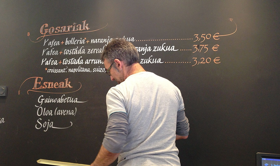 Wall calligraphy at Agurtzane bakery
