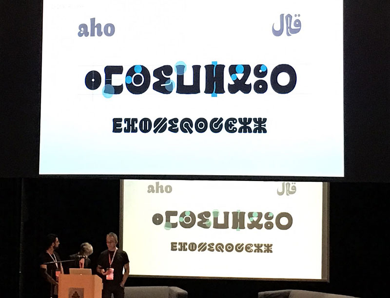 "K. Sarkis, L. Meseguer and JL. Blanco giving their ""A Typographic Maghribi Trialogue"" lecture in ATypI 2016 conference in Warsaw"