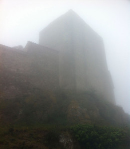 The castle of Montalba-le-Château in the fog