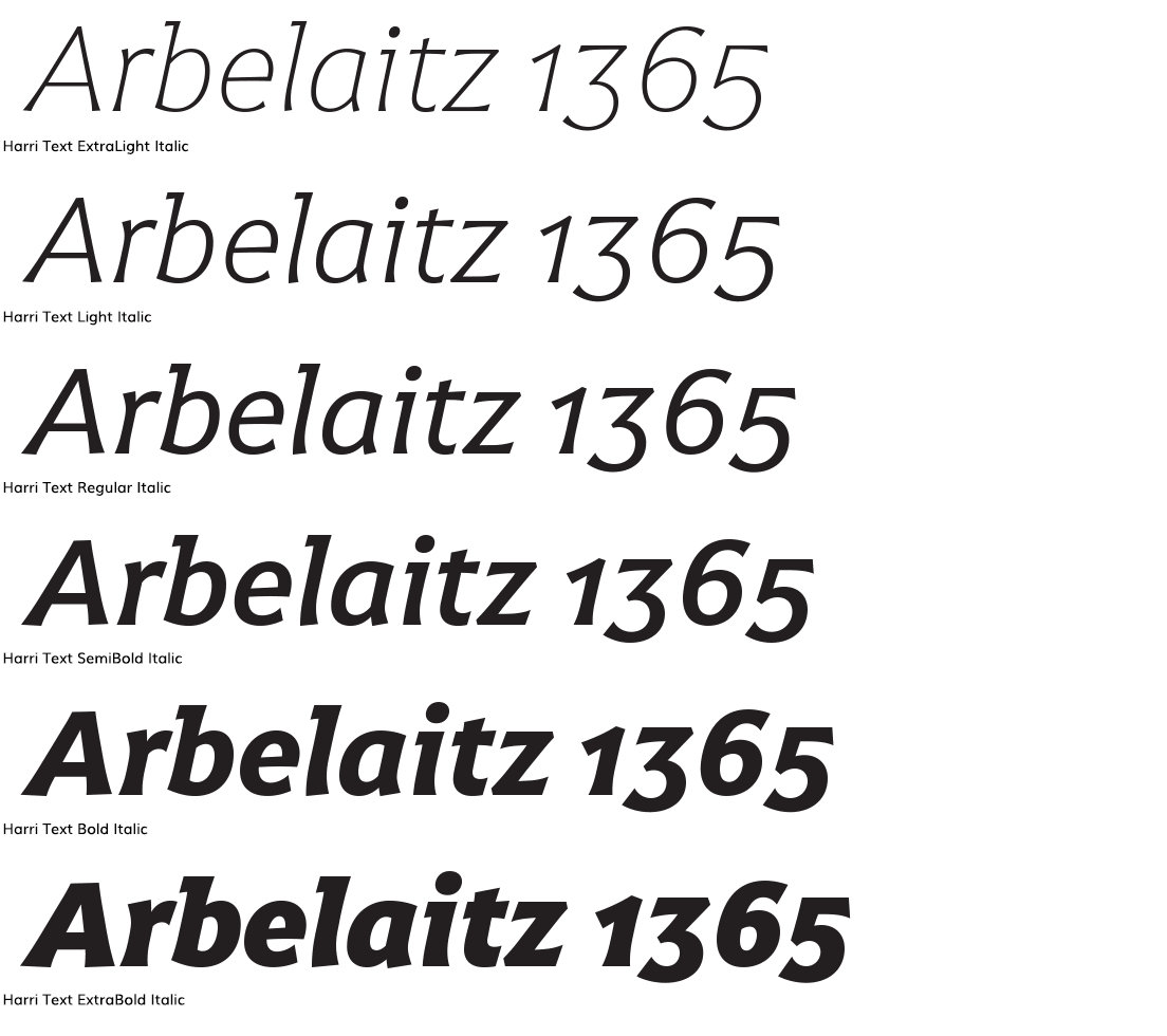 Harri text italic headline samples in three sizes