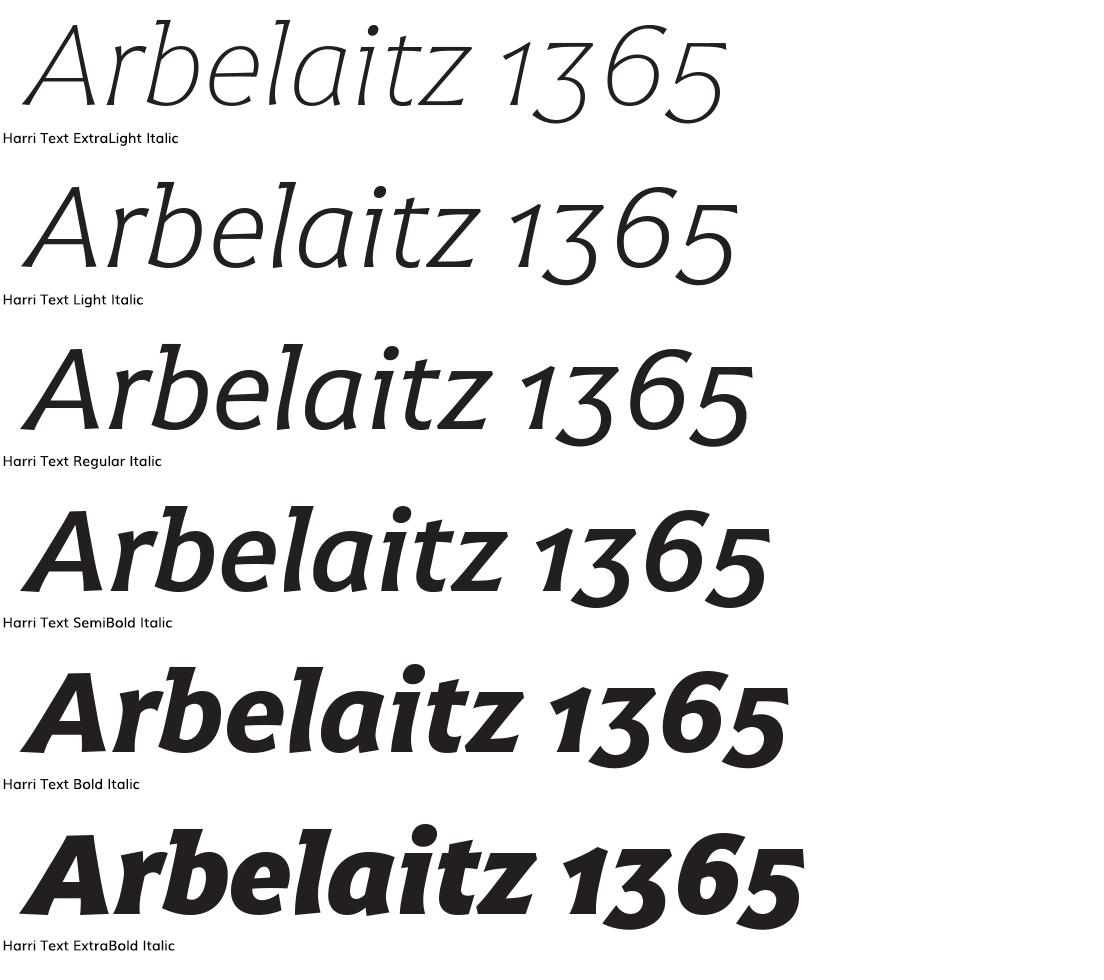 Harri text italic headline samples in three sizes