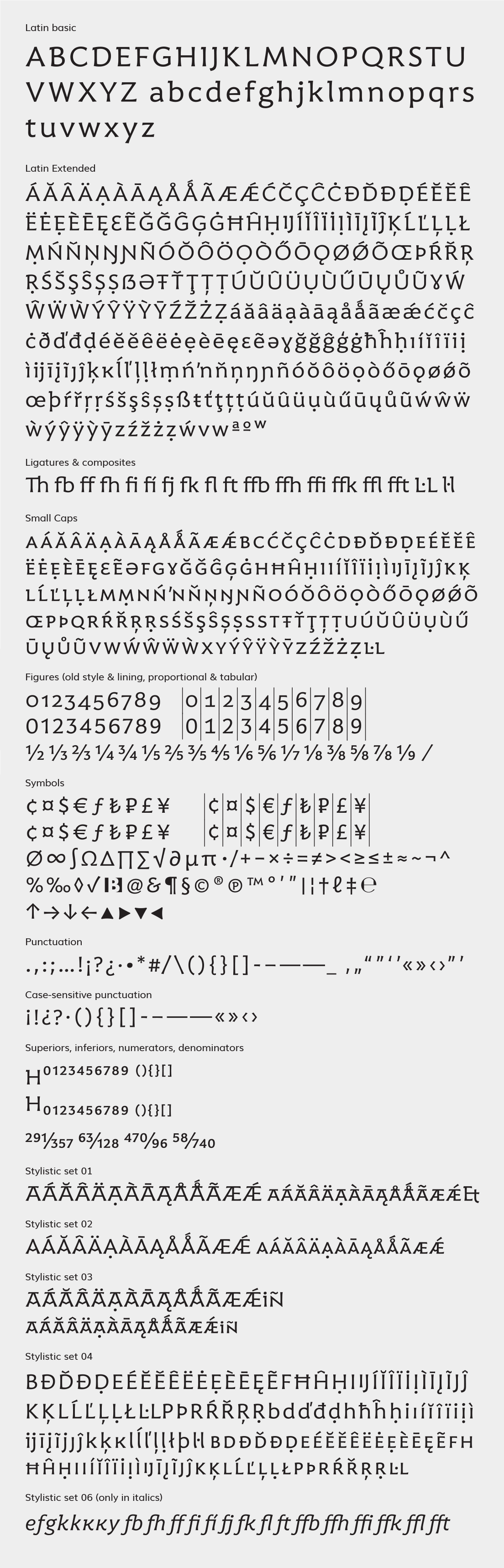 Harri Text: character set
