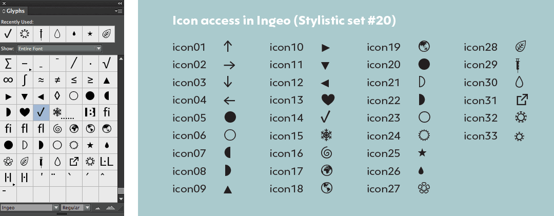 Access of icons in Ingeo typeface