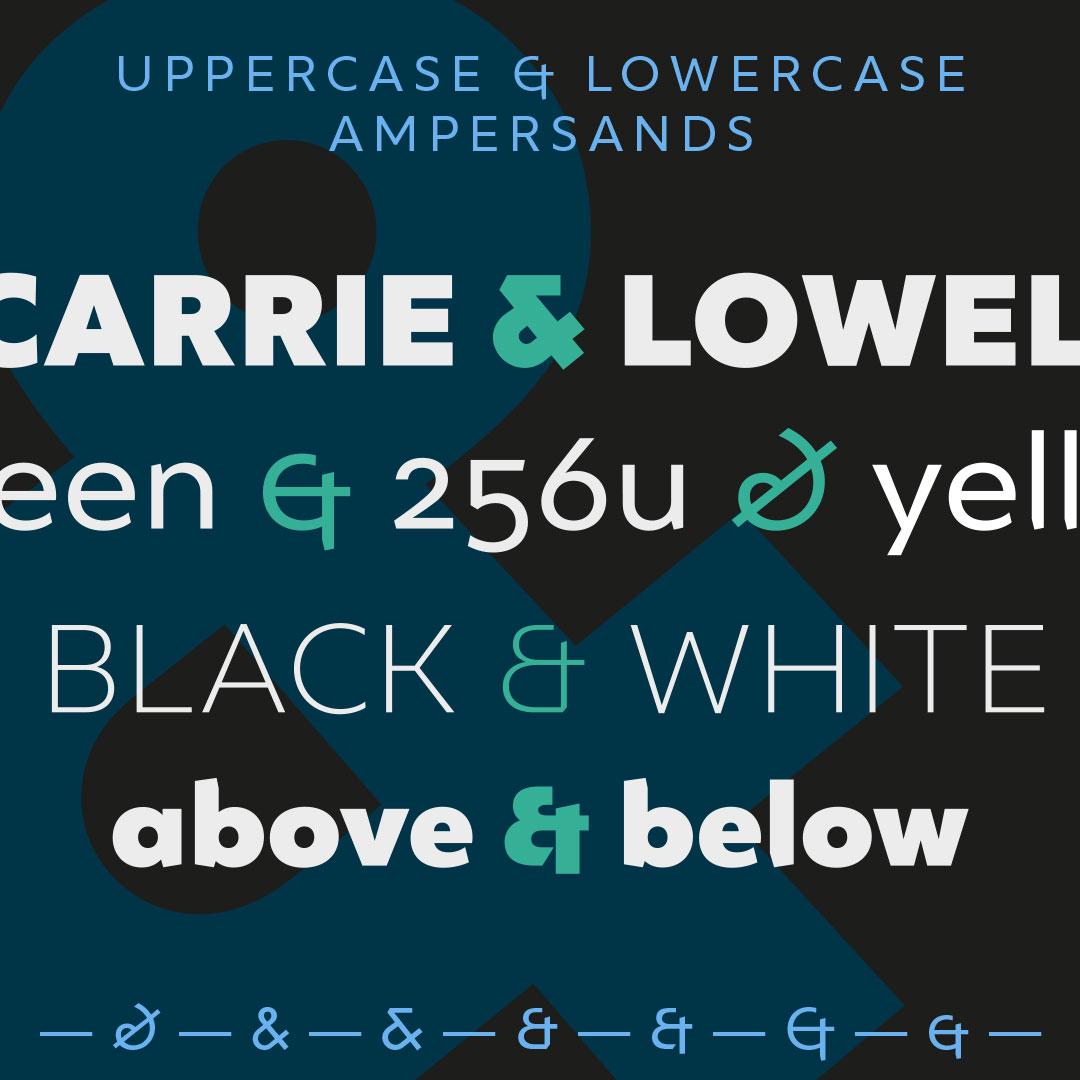 Ingeo geometric typeface ampersands